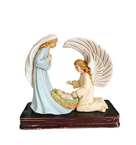 SDBRKYH Cristo Jesús Escultura, Jesús Nacimiento Estatua Decoración Ángel El Master Virgen Alimento Decorativo Pintado Decoración Religiosa Regalo