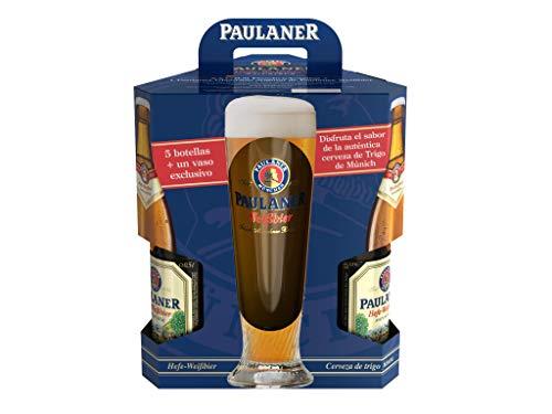 Paulaner Hefe Weissbier Cerveza Trigo Alemana, 5 Botellas X 50 Cl Más Vaso