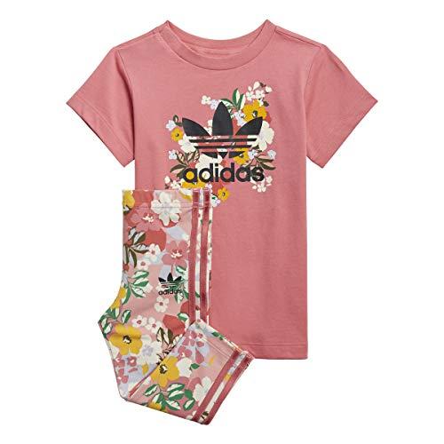 adidas tee Dress Set Chndal, Top:Hazy Rose/Multicolor/Black Bottom:Trace Pink F17/Multicolor/Hazy Rose S21, 2 años para Bebés