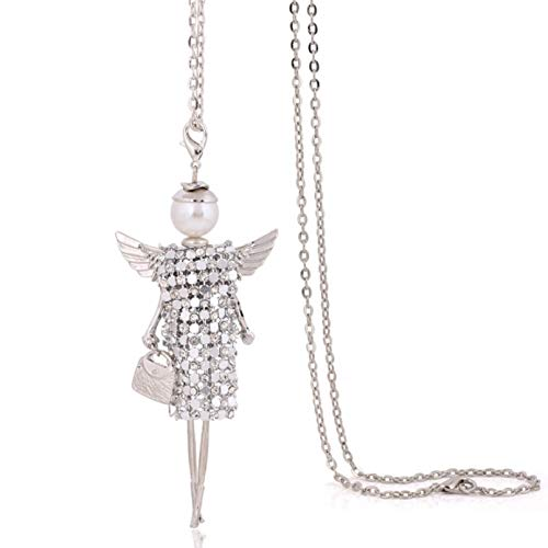 WDBUN Necklace pendant handmade new sweater chain long necklace angel wings full rhineston doll necklace jewelry women chokers crystal girl pendant Halloween Christmas Birthday Party Gift