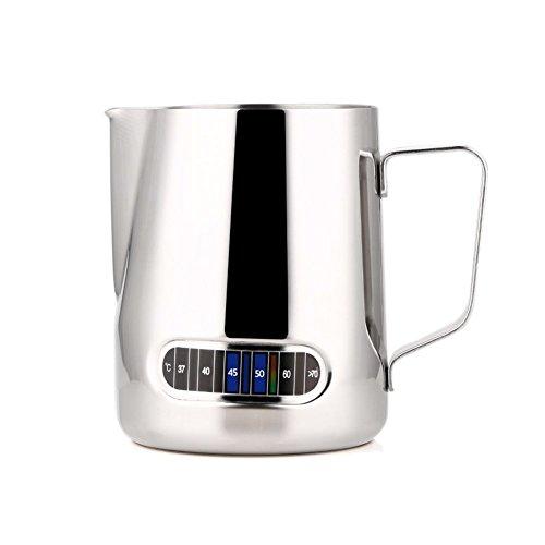 L-BEANS - 600ml Brocca da Latte Lattiera per Cappuccinatore in Acciaio Inossidabile con Termometro