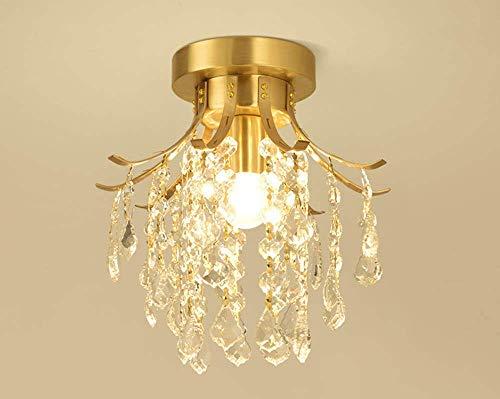 ZHANGDA Lámpara de techo de cristal transparente para pasillo, lámpara de techo, latón semirrígida moderna, E27, para pasillo, balcón, escaleras, perchero, lámpara de techo de 25 cm de diámetro