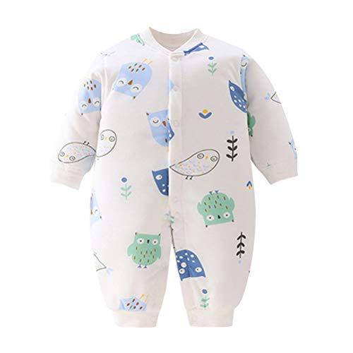 Toyvian Baby Bunting Bodysuit Owl Print Pijama Infantil Kids One Piece Romper Outerwear Jaqueta de Criança Baby Hot Snowsuit para Recém-Nascido Tamanho 80 (Branco)