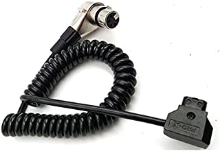SINTULY D-Tap Male to 4 Pin XLR Female Right Angle Adapter Power Coiled Spring Cable for DSLR Camcorder