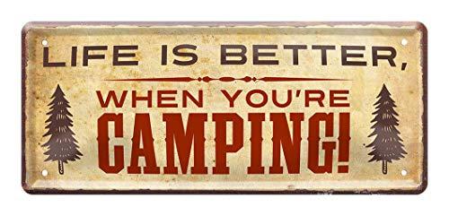 Blechschild Life is better when you're camping - Retro Deko Schild - Dekoration für Caravan Wohnmobil Wohnwagen Reisemobil Outdoor Camping Begeisterte - Metallschild Campingplatz Zeltplatz - 28x12cm