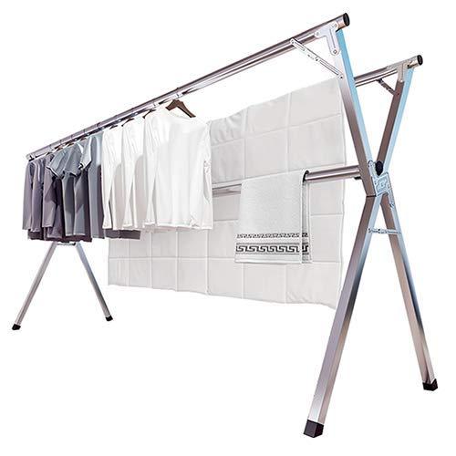 JAUREE - Tendedero para ropa (2 m, acero inoxidable, ajustable, plegable, ahorro de espacio, para interiores y exteriores, con ganchos...