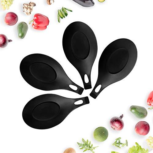 K·K Porta Cucchiaio in Silicone, 4 Pezzi Poggia Cucchiaio Silicone Cucina Set Poggia Cucchiaio Tappetino per Ripiano a Cucchiaio per Lo Sgocciolamento Sottopentola (Nero)