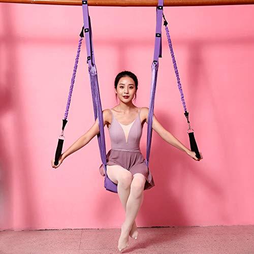 Bolange Correa de estiramiento de fitness de yoga, Bandas aéreas de resistencia de yoga, Estirador de piernas ajustable Entrenador de asistencia para flexión de espalda