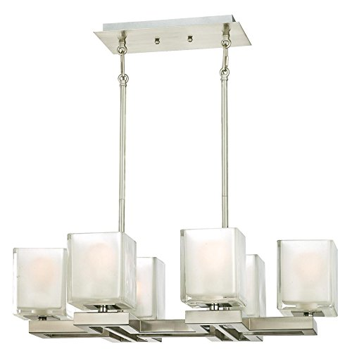 Westinghouse Lighting 6332100 Nyle Six-Light Indoor Chandelier, Brushed Nickel Finish with Glazed Ice Block Glass