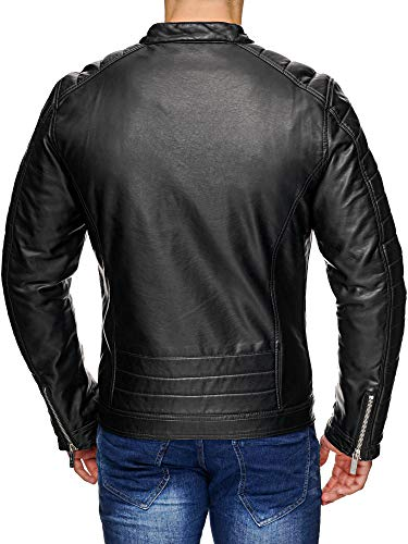 Red Bridge Hombres Chaqueta Cuero Sintético Transición Moda Cuero Jackets Negro