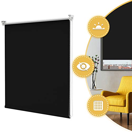 Deswell Klemmfix Verdunkelungsrollo Thermorollo ohne Bohren Schwarz 80 x 170cm(BxH) für Fenster Seitenzugrollo mit Klemmträger und Schrauben Wandmontage