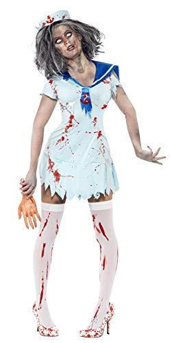 Halloween! Smiffys Zombie-Matrose Kostüm, Dame, mit blutbespritztem Kleid und Mütze