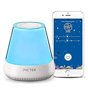 Sound Machine with Nightlight, PICTEK White Noise Machine, 11 Non-Looping HiFi White Noise and Lullaby Sound, APP Controled, Auto-Off Timer, Wake Up Function for Nursery, Baby, Kids Sleeping