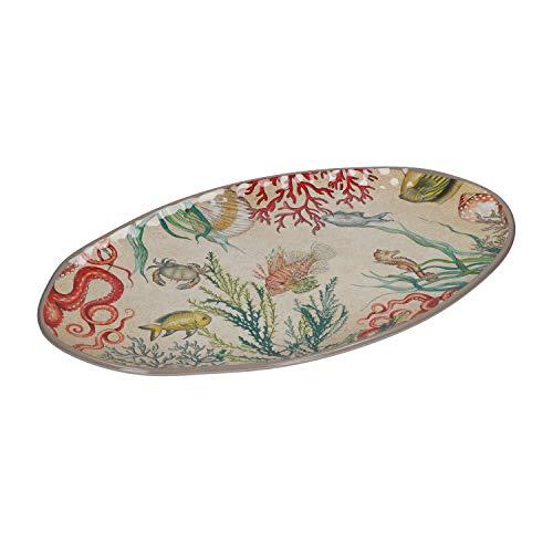 ROSE & TULIPANI - SEA LIFE Vassoio Ovale 100% Melamina 52x30 cm in Gift Box