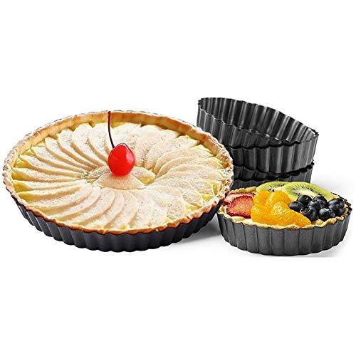 panthem 6 pcs Pfanne zum Backen runde Antihaft-Torten-Kuchen-Backen Quiche Tart Pfanne Quicheform Pizza & Flammkuchen 10cm, 22cm