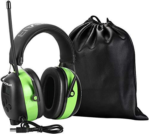 PROHEAR Bluetooth V5.0 Recargable Casco de Protección Auditiva con Radio, AM FM Protectores Auditivos con Bolsa Portátil, SNR 30dB para Segar, Construcción, Carpintería, Verde