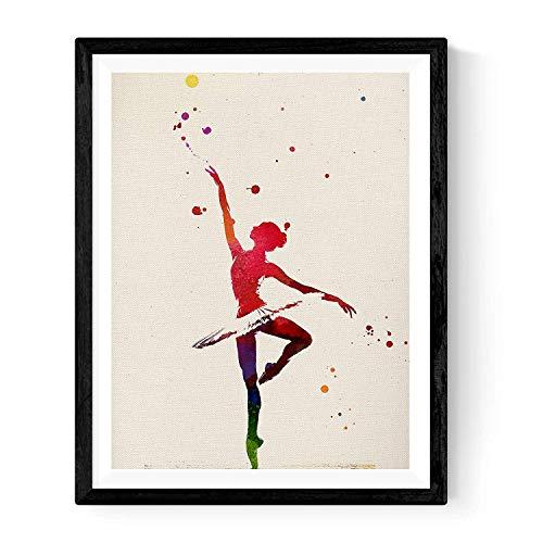 Nacnic Lámina para enmarcar Bailarina DE Ballet Estilo Acuarela. Poster con imágenes de Danza Impresas a Estilo Acuarela. Lámina Ballet. Decoración de hogar. Láminas para enmarcar. Papel 250 Gramos