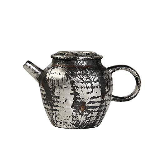 Tetera de porcelana de estilo japonés Tetera de cerámica de plata dorada Juego de té de Kung Fu para el hogar Tetera de filtro grande Tetera de una sola olla