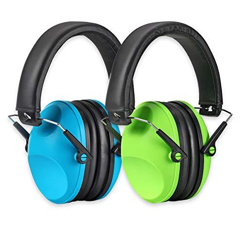 PROHEAR 032 Gehörschutz Kinder mit SNR 29dB Hörschutz, Faltbar Komfortabel Lärmschutz Kopfhörer Kinder Jugendliche für Konzert Feste Schule von 1 bis 18 Jahre (Grün-Blau)