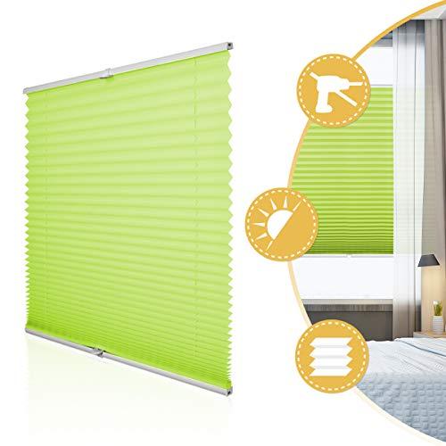 Deswell Plissee Rollo Jalousie ohne Bohren Klemmfix für Fenster & Tür Grün 80 x 120 cm, Plisseerollo Stoff Sonnenschutz leicht zu montieren & Verspannt