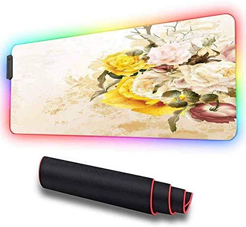 Erweitertes Mauspad, blühender Rosenstrauß mit Blumenstrauß, große, coole RGB-Gaming-Mausmatte mit genähten Kanten aus Nylonfaden und glatt wasserdichter, rutschfester Gummibasis