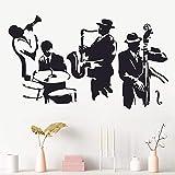 Jazz saxofón Instrumento Banda Jugador música Pegatina Arte Vinilo Tambor bajo Vinilo Mural Pegatina 75x144cm