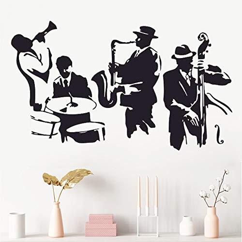 hetingyue Jazz saxofoon instrument band speler muziek sticker kunst vinyl trommel bas muursticker vinyl