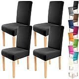 Gräfenstayn 4pcs Fundas para sillas elásticas Charles - respaldos Redondos y angulares - Paquete Benefit - Ajuste bi-elástico con Sello Oeko-Tex Standard 100:'Confianza verificada (Negro)