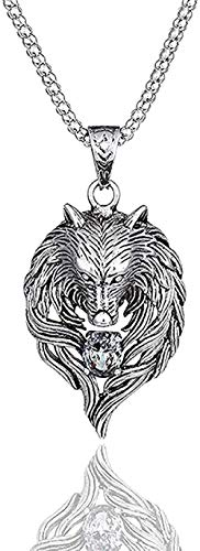 huangxuanchen co.,ltd Necklace 1Pcs Norse Pendant Necklace Norse Wolf Head Necklace Original Animal Jewelry Wolf Head Hange Crystal Necklaces Collares