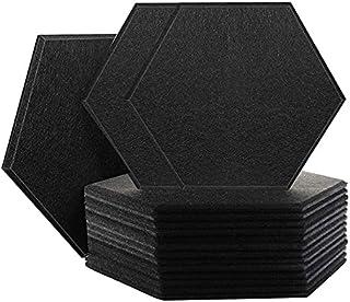 Nrpfell 16-pack hexagon akustiska paneler ljudisolerad stoppning avfasade kanter ljudpaneler för väggdekoration och akusti...