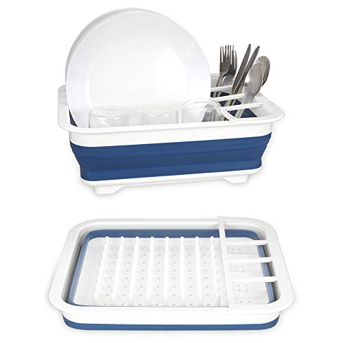 Collapsible dish drying rack, Small Folding Dish Rack, Learja Portable Dish Drying Rack, Compact Dish Drainer for Kitchen, Camper, RV, Caravan, Travel Trailer (Blue and White without Drainer Board)