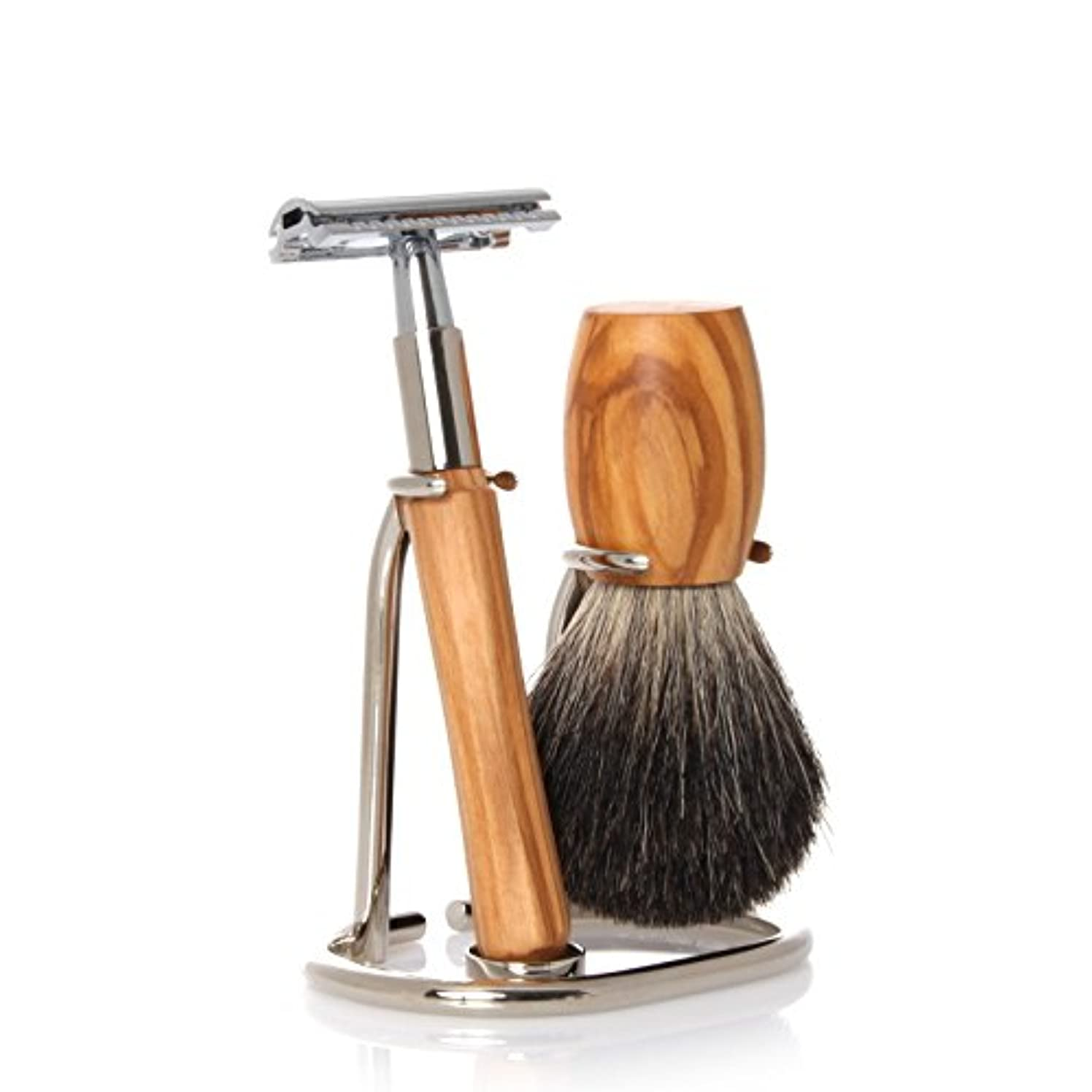 コンクリート苦情文句アブストラクトGOLDDACHS Shaving Set, Safety razor, 100% badger hair, olive wood