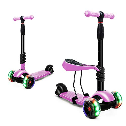 XJD Scooters for Kids Toddler Scooter with Removable Seat 3 Wheel Scooter for Boys Girls Adjustable...