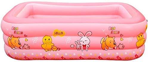 MAYI - Piscina hinchable rectangular engrosada para niños, adultos, patio o playa (color: rosa)