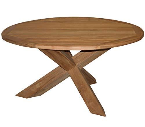 KMH®, Großer runder Gartentisch aus Teakholz (Durchmesser ca. 150 cm) (#102176)