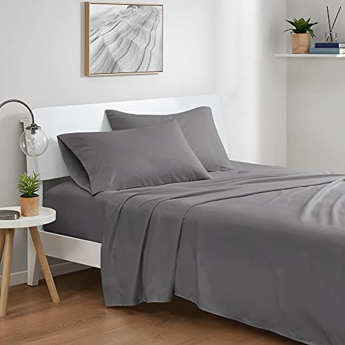 Degrees of Comfort Coolmax Cooling Sheets Set for Full Size Bed, Moisture Wicking for Night Sweats Best Comfort, Cool Sheets for Hot Sleepers During Warm Weather with Deep Pocket, Grey-4PC