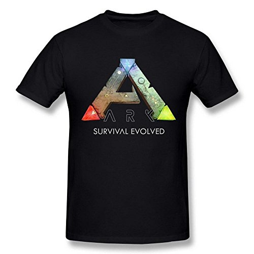 Men's Ark Survival Evolved Game Logo Poster Black T Shirt Large