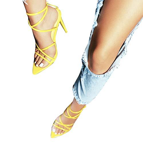 Minetom Damen Sandaletten High Heels Stiletto Sexy Open Toe Hohl Kreuzgurt Sandalen Abend Party Braut Schuhe A Gelb 36 EU