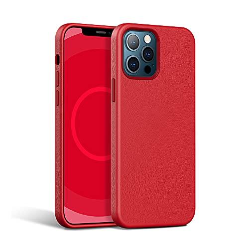 Funda para iPhone 13/12 Pro Magnética Adsorción Carga Teléfono Cubierta Ultradelgada Prueba de Golpes Todo Incluido Piel Vaca Soft Cover con Animación Forro Flocada Antisu(Size:iP12Pro,Color:Rojo)
