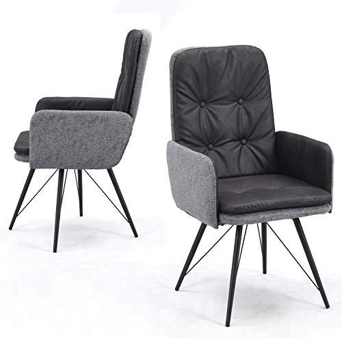 Esszimmerstühle 2er Set mit Armlehnen drehbar, gepolster Drehstuhl, Vintage Armlehnstuhl, Armsessel Esszimmerstuhl Retro, Design Stuhl, Polsterstuhl in Microfaser Antrazit Grau, B&D home