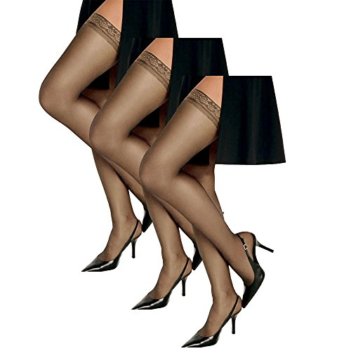 Hanes Women`s Set of 3 Silk Reflections Silky Sheer Thigh High - Best-Seller! AB, Barely There