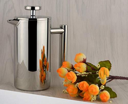 Cafetera de vacío de acero inoxidable, cafetera con aislamiento térmico, cafetera de prensa francesa de diseño especial de alta calidad, 3 tazas 350 ml