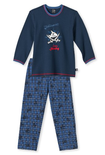 Schiesser Jungen Kn Schlafanzug Lang Pyjama, Blau (803-dunkelblau), 104