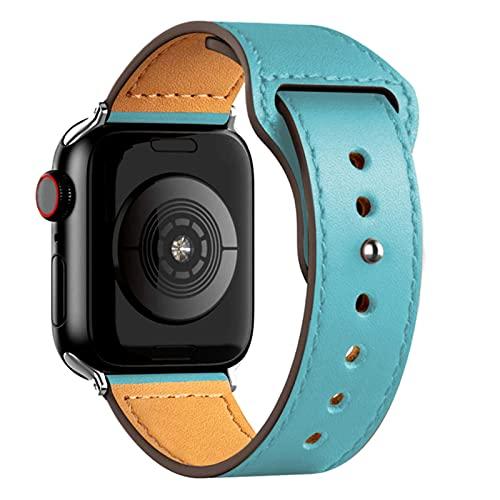 Correa de cuero Para correa de reloj de Apple 44 mm 40 mm 42 mm 38 mm 44 mmAccesorios pulsera para iWatch 3 4 5 6-Turquesa, 38 mm o 40 mm