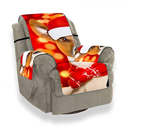 JOCHUAN Christmas Santa Claus Jack Russell Dog Pet Sofa Cushion Soft Chair Slipcover Slipcover Chair Cover Furniture Protector for Pets, Kids, Cats, Sofa