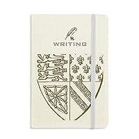 ブラック・ホワイト・バロック美術のライオンのシールド・パターン ノートブッククラシックジャーナル日記A 5を書く