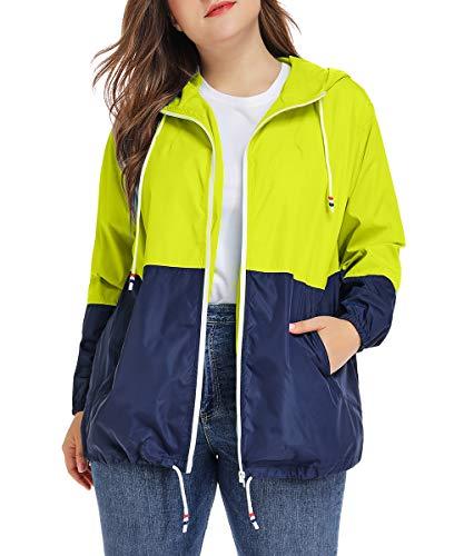 Regenjacke Damen Regenmantel Große Größen Windbreaker Jacke Wasserdicht Winddicht Softshelljacken Windjacke Outdoorjacke Leuchtendes Grün XXL