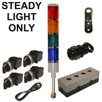 LED Tower Light Station Kit, LED Andon Light Kit KT-5214-100, LED Stacklight Kit, 120V, Red/Yellow/Green/Blue, Off/Steady