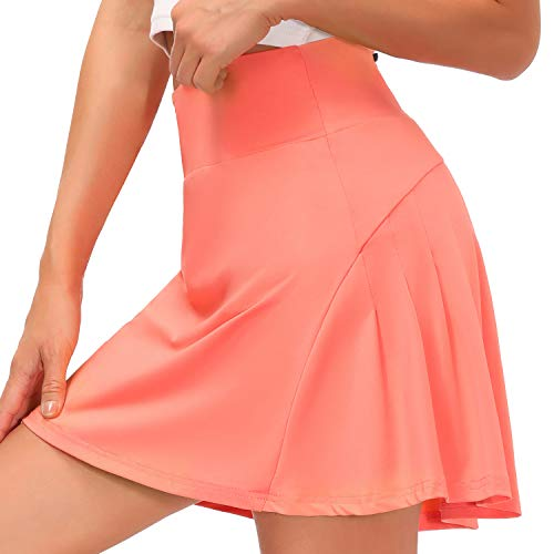 Cassiecy Gonna da tennis da donna, mini gonna sportiva da donna, elasticizzata Colore: rosa. XS