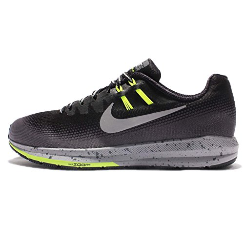 Nike Mens Air Zoom Structure 20 Shield, BLACK/METALLIC SILVER-DARK GREY, 9.5 M US